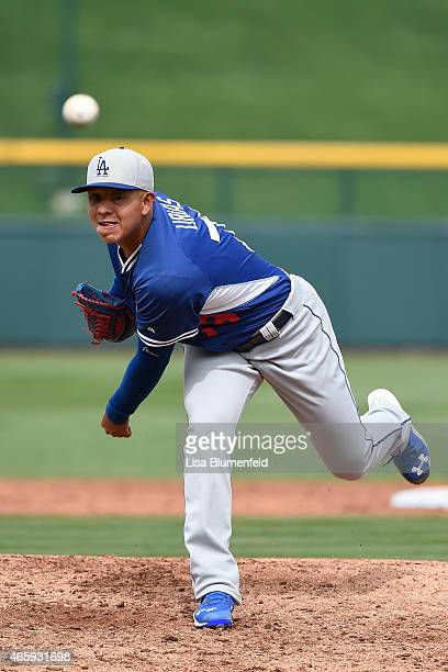 Julio Urias of the Los Angeles Dodgers pitches against the Chicago Cubs on March 11 2015 in Mesa Arizona