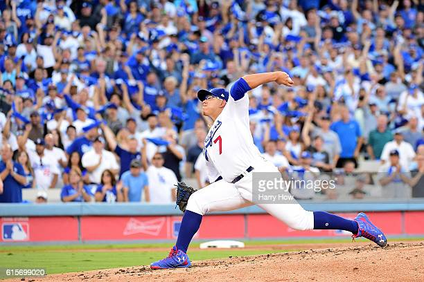 Julio Urias of the Los Angeles Dodgers pitches against the Chicago Cubs in game four of the National League Championship Series at Dodger Stadium on...
