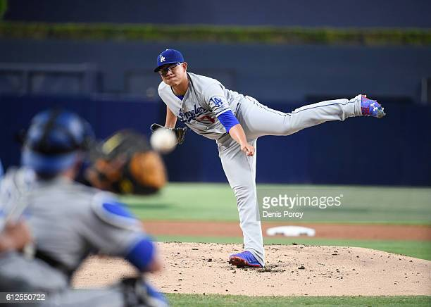 Julio Urias of the Los Angeles Dodgers pitches during a baseball game against the San Diego Padres at PETCO Park on September 29 2016 in San Diego...