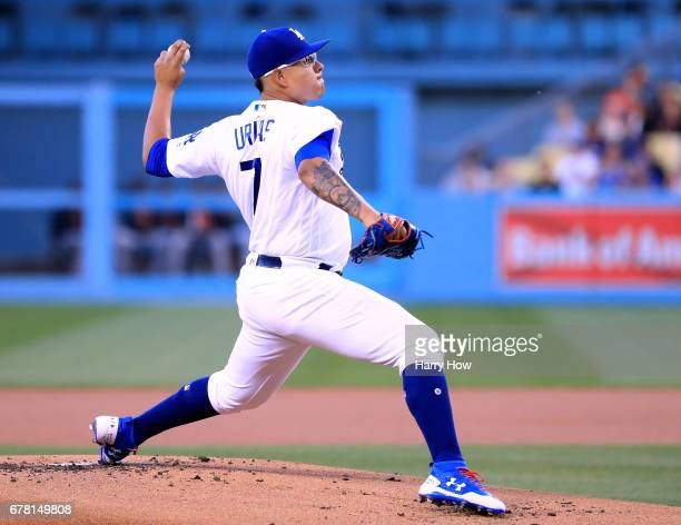 Julio Urias of the Los Angeles Dodgers pitches during the first inning against the San Francisco Giants at Dodger Stadium on May 3 2017 in Los...