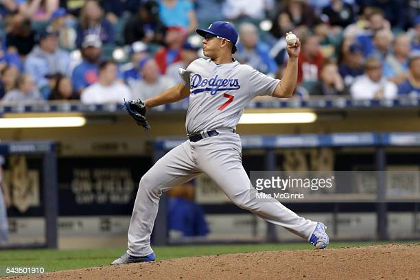 Julio Urias of the Los Angeles Dodgers pitches during the fourth inning against the Milwaukee Brewers at Miller Park on June 28 2016 in Milwaukee...