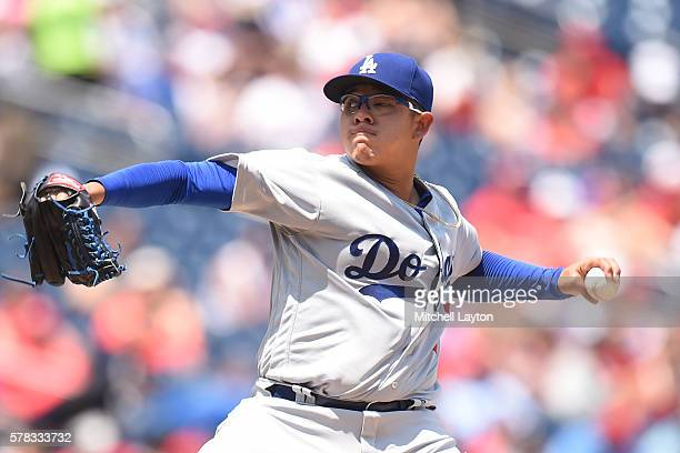 Julio Urias of the Los Angeles Dodgers pitches in the forth inning during a baseball game against the Washington Nationals at Nationals Park on July...