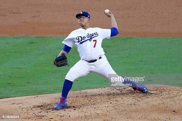 Julio Urias of the Los Angeles Dodgers pitches in the second inning against the Chicago Cubs in game four of the National League Championship Series...