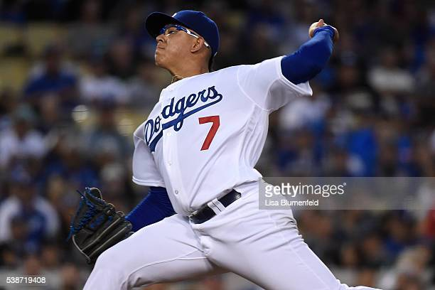 Julio Urias of the Los Angeles Dodgers pitches in the third inning against the Colorado Rockies at Dodger Stadium on June 7 2016 in Los Angeles...