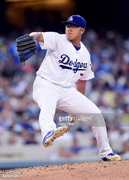Julio Urias of the Los Angeles Dodgers pitches to the Washington Nationals during the second inning at Dodger Stadium on June 22 2016 in Los Angeles...
