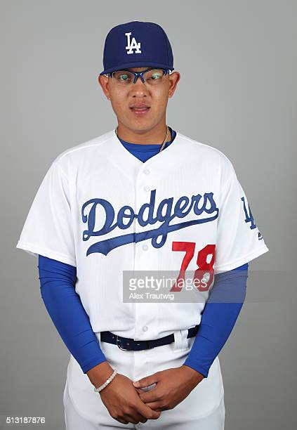 Julio Urias of the Los Angeles Dodgers poses during Photo Day on Saturday February 27 2016 at Camelback Ranch in Glendale Arizona