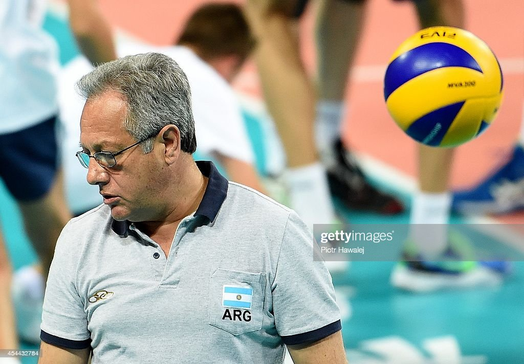 Julio Velasco coach of Argentina reacts during the FIVB World Championships match between Venezuela and Argentina on August 31, 2014 in Wroclaw, Poland.