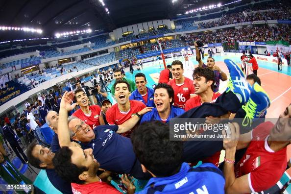 Julio Velasco coach of Iran celebrates after wining during 17th Asian Men's Volleyball Championship between Iran And Japan on October 5 2013 in Dubai...
