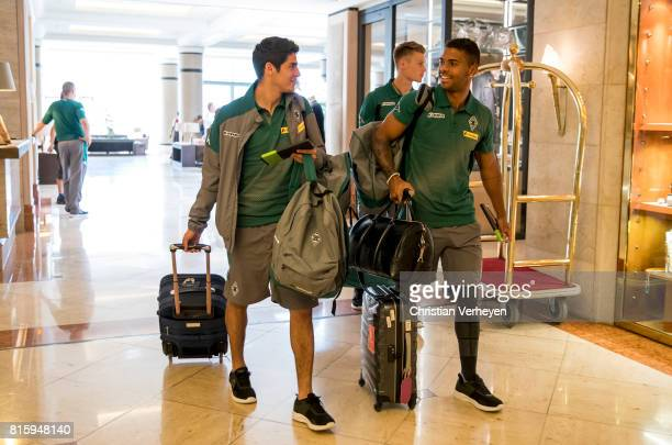 Julio Villalba and Kwame Yeboah of Borussia Moenchengladbach arrive at the Training Camp of Borussia Moenchengladbach on July 17 2017 in RottachEgern...