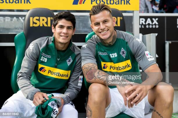 Julio Villalba and Raul Bobadilla of Borussia Moenchengladbach ahead the Bundesliga match between Borussia Moenchengladbach and Eintracht Frankfurt...
