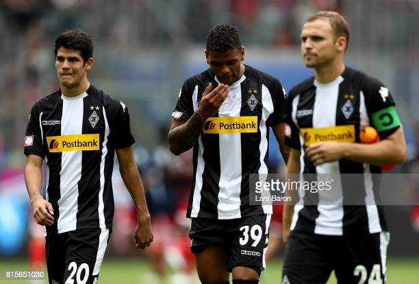 Julio Villalba Kwame Yeboah and Tony Jantschke of Moenchengladbach are seen after the Telekom Cup 2017 3rd place match between Borussia...