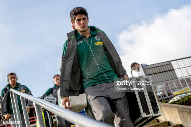 Julio Villalba of Borussia Moenchengladbach arrives at the BorussiaPark prior the Bundesliga match between Borussia Moenchengladbach and VfB...