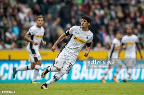 Julio Villalba of Borussia Moenchengladbach runs during the Bundesliga match between Borussia Moenchengladbach and Eintracht Frankfurt at...