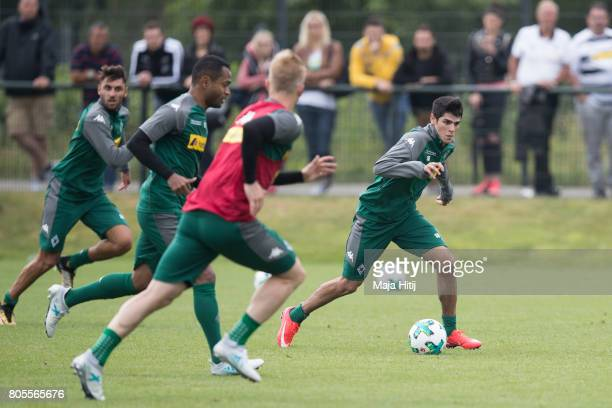 Julio Villalba of Moenchengladbach controls the ball during Training Session on July 2 2017 in Moenchengladbach Germany