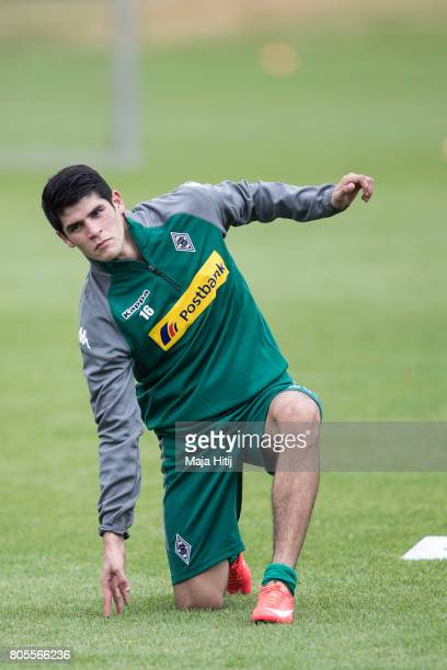 Julio Villalba of Moenchengladbach stretches during Training Session on July 2 2017 in Moenchengladbach Germany