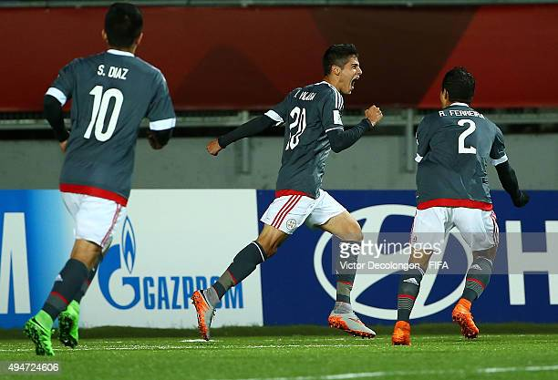 Julio Villalba of Paraguay celebrates his goal during the Paraguay v France Group F FIFA U17 World Cup Chile 2015 match at Estadio Chinquihue on...