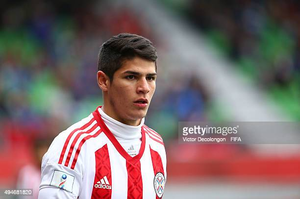 Julio Villalba of Paraguay enters the match in the second half during the Paraguay v New Zealand Group F FIFA U17 World Cup Chile 2015 match at...