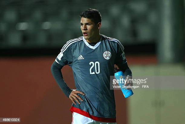 Julio Villalba of Paraguay walks toward the side line during the Syria v Paraguay Group F FIFA U17 World Cup Chile 2015 match at Estadio Chinquihue...
