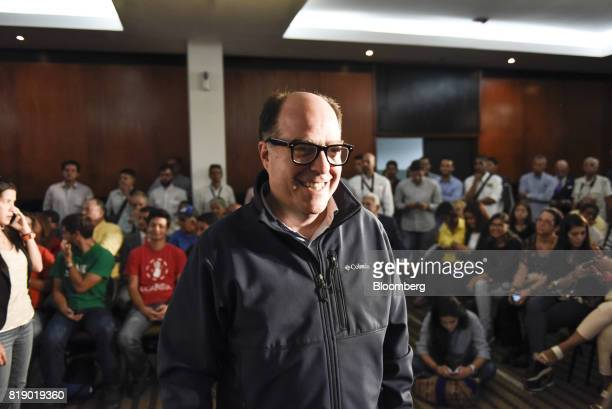 JulioBorges president of the opposition controlled National Assembly center arrives to a press conference held by the opposition coalition...