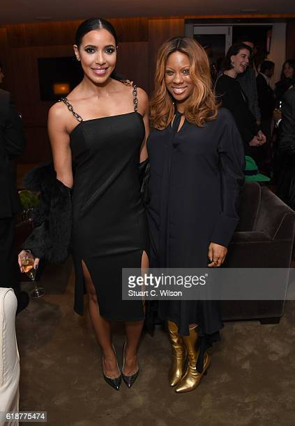 Julissa Bermudez and Stephanie Horton attend the Farfetch Dinner to Celebrate Maxwell's King Queen of Hearts World Tour at The London EDITION on...