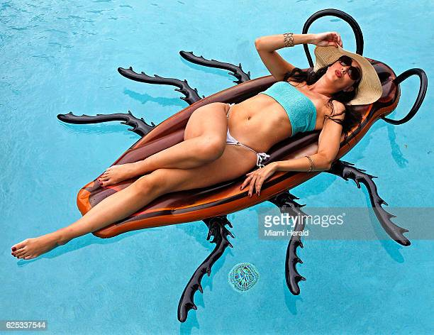 Julissa Hernandez catches a little sun at the home of Jenny Romney courtesy of the Inflatable Roach