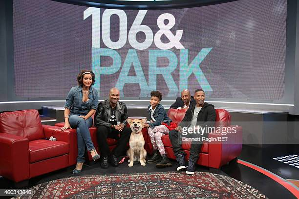 Julissa Tigger Quvenzhane Wallis and Jamie Foxx attend 106 Park at BET studio on December 11 2014 in New York City