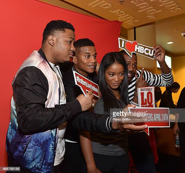 Julito McCullum Cory Hardrict KeKe Palmer and Eric D Hill Jr attend 'Brotherly Love' Atlanta College Screening at AMC Phipps Plaza on April 6 2015 in...
