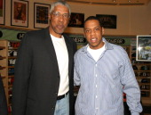 Julius 'Dr J' Erving and JayZ during Got Milk NBA Rookie of the Year 2004 Presented to LeBron James at NBA Store in New York City New York United...