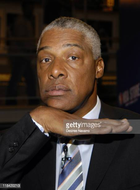 Julius 'Dr J' Erving during Dr J Soars Onto the Wheaties Box at NBA Store in New York City New York United States
