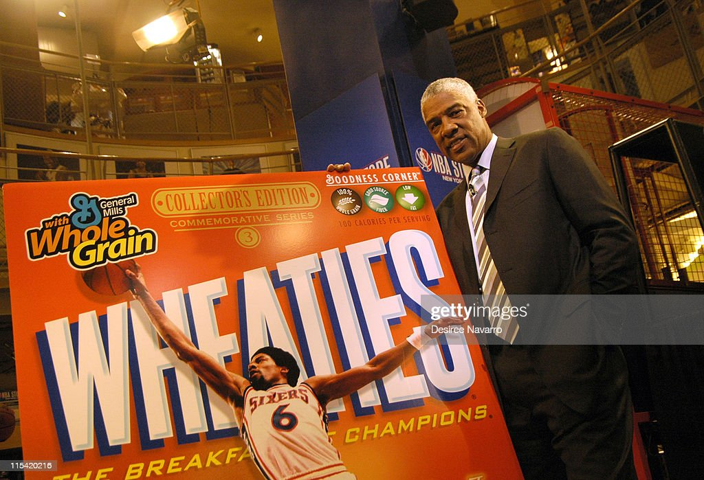 Julius 'Dr. J' Erving during Dr. J Soars Onto the Wheaties Box at NBA Store in New York City, New York, United States.