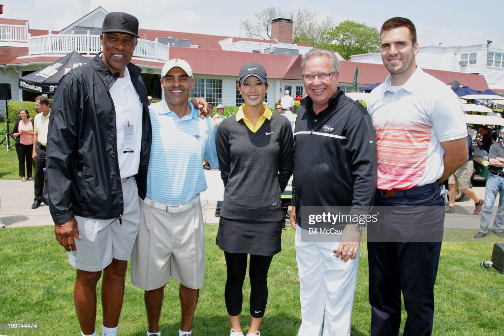 Julius ' Dr. J' Erving, Herman Edwards, Michelle Wie, Ron Jworski and Joe Flacco attend the Ron Jaworski's Celebrity Golf Challenge May 20, 2013 at Atlantic City Country Club in Northfield, New Jersey.
