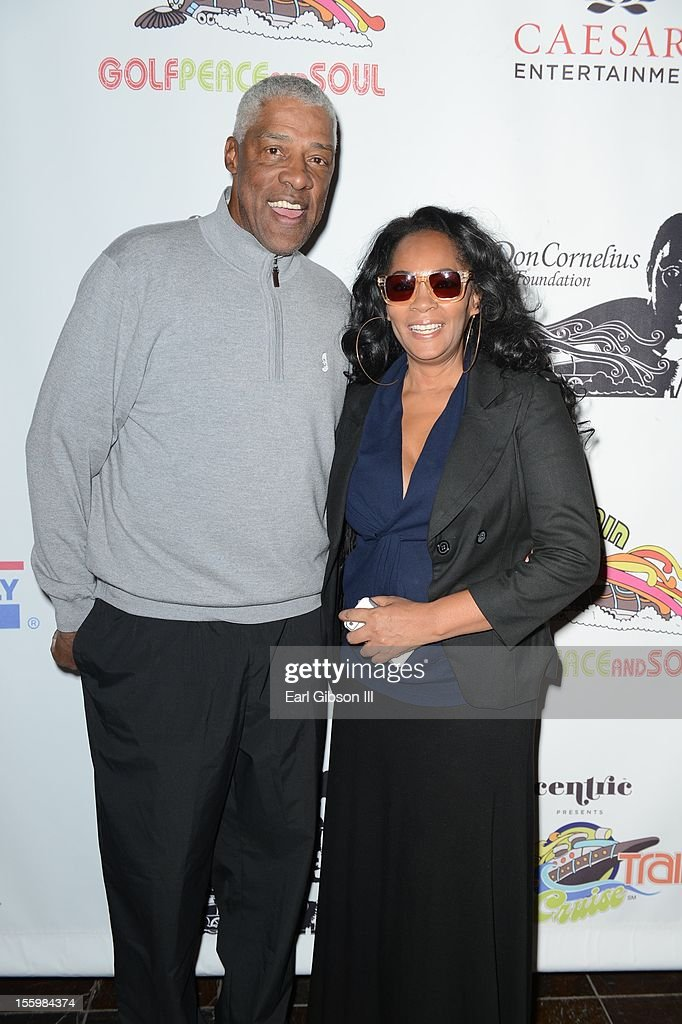 Julius 'Dr. Jay' Erving and <a gi-track='captionPersonalityLinkClicked' href=/galleries/search?phrase=Jody+Watley&family=editorial&specificpeople=1186444 ng-click='$event.stopPropagation()'>Jody Watley</a> pose for a photo at the First Annual Soul Train Celebrity Golf Invitational on November 9, 2012 in Las Vegas, Nevada.