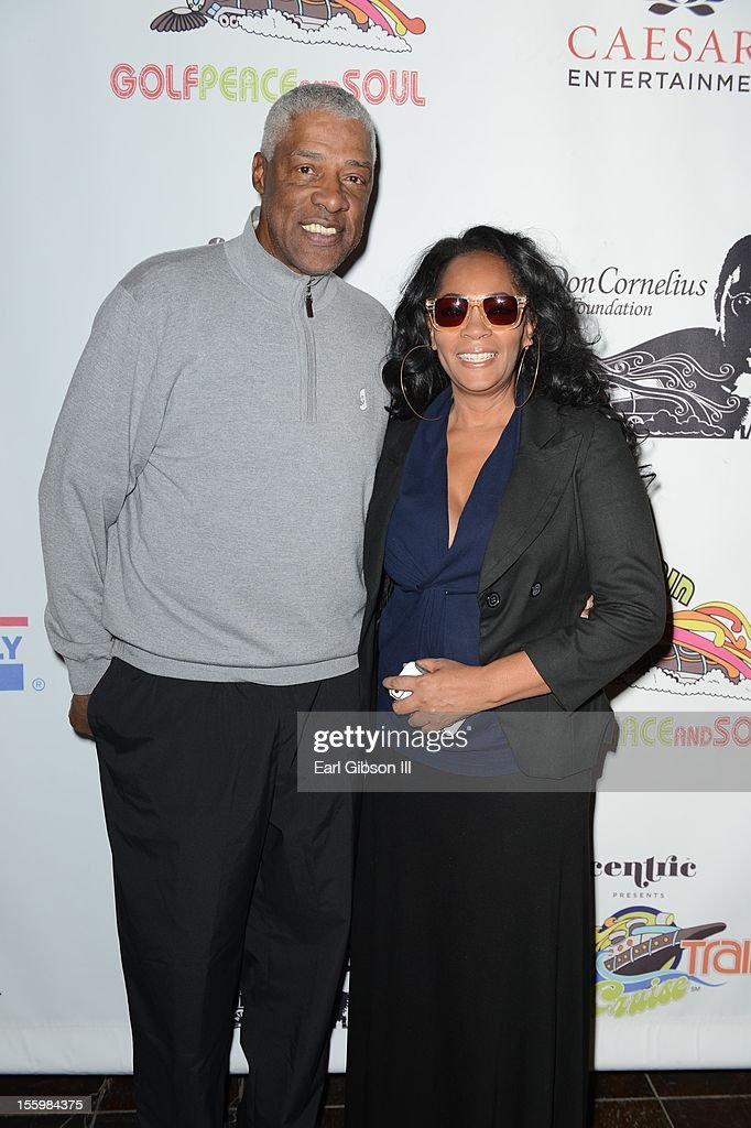 Julius 'Dr. Jay' Erving and Jody Watley pose for a photo at the First Annual Soul Train Celebrity Golf Invitational on November 9, 2012 in Las Vegas, Nevada.