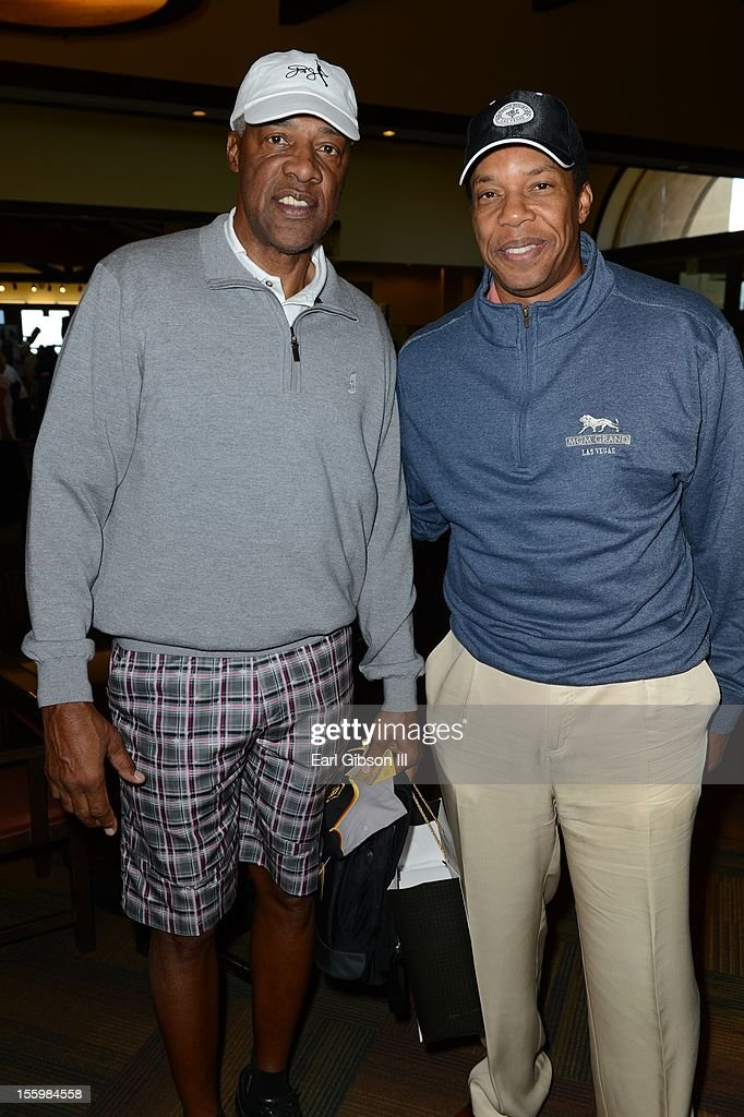 Julius 'Dr. Jay' Erving and Tony Cornelius pose for a photo at the First Annual Soul Train Celebrity Golf Invitational on November 9, 2012 in Las Vegas, Nevada.