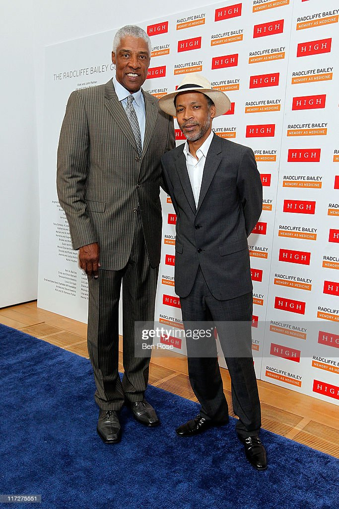 <a gi-track='captionPersonalityLinkClicked' href=/galleries/search?phrase=Julius+Erving&family=editorial&specificpeople=202966 ng-click='$event.stopPropagation()'>Julius Erving</a> and artist Radcliffe Bailey pose during a private reception for the opening of the exhibition 'Radcliffe Bailey : Memory as Medicine' at High Museum of Art on June 24, 2011 in Atlanta, Georgia.