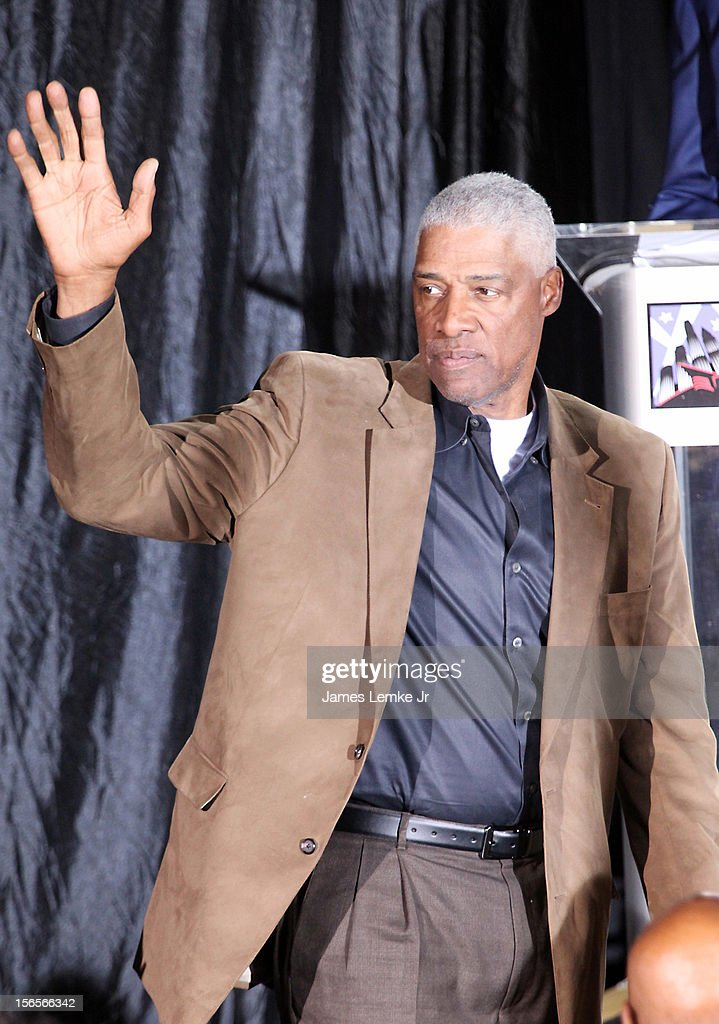 Julius Erving attends the Kareem Abdul-Jabbar Statue Unveiling held at the Staples Center on November 16, 2012 in Los Angeles, California.