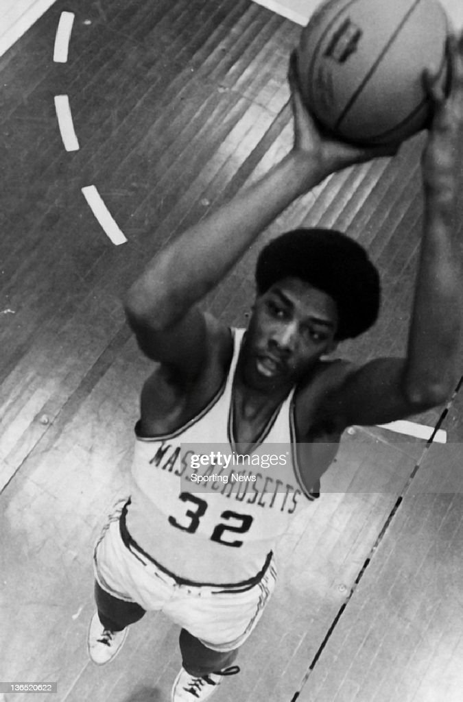 <a gi-track='captionPersonalityLinkClicked' href=/galleries/search?phrase=Julius+Erving&family=editorial&specificpeople=202966 ng-click='$event.stopPropagation()'>Julius Erving</a> #32 of the Massachusetts Minutemen poses for a portrait circa 1970 at the Curry Hicks Cage in Amherst, Massachusetts.