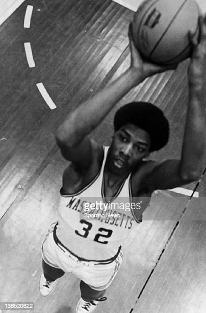 Julius Erving of the Massachusetts Minutemen poses for a portrait circa 1970 at the Curry Hicks Cage in Amherst Massachusetts
