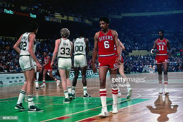 Julius Erving of the Philadelphia 76ers on the court during a game played in 1981 at the Boston Garden in Boston Massachusetts NOTE TO USER User...