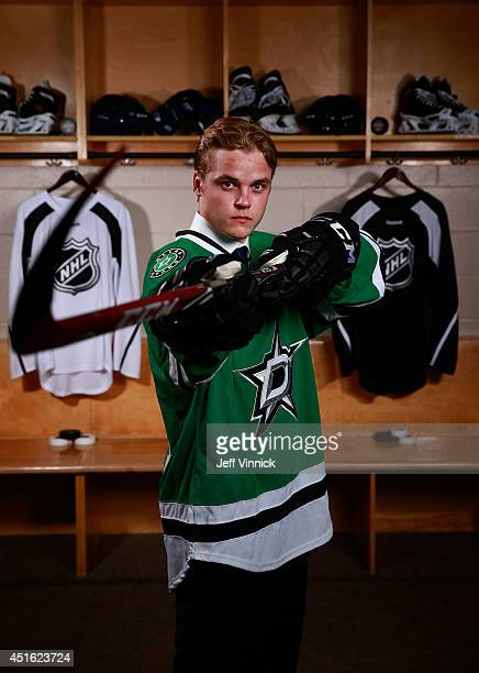 Julius Honka 14th overall pick of the Dallas Stars poses for a portrait during the 2014 NHL Entry Draft at Wells Fargo Center on June 27 2014 in...
