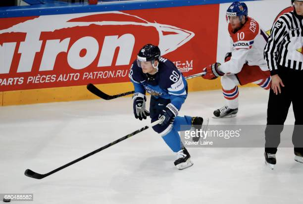 Julius Honka of Finland in action during the 2017 IIHF Ice Hockey World Championship game between Finland and Czech Republic at AccorHotels Arena on...