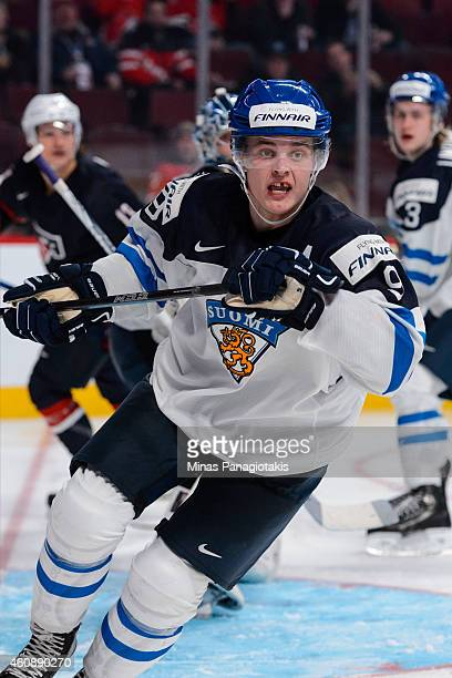 Julius Honka of Team Finland skates during the 2015 IIHF World Junior Hockey Championship game against Team United States at the Bell Centre on...