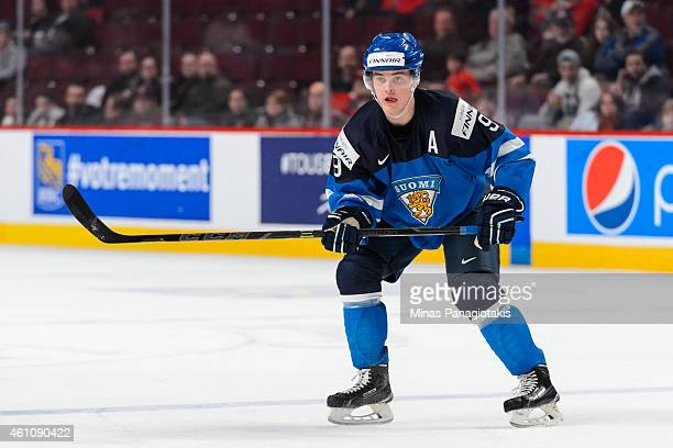 Julius Honka of Team Finland skates in a preliminary round game during the 2015 IIHF World Junior Hockey Championships against Team Germany at the...