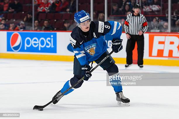 Julius Honka of Team Finland takes a shot during the 2015 IIHF World Junior Hockey Championship game against Team Slovakia at the Bell Centre on...