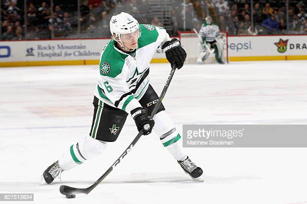 Julius Honka of the Dallas Stars fires a shot against the Colorado Avalanche at the Pepsi Center on December 3 2016 in Denver Colorado