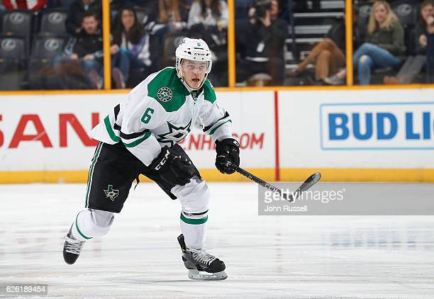 Julius Honka of the Dallas Stars skates against the Nashville Predators during an NHL game at Bridgestone Arena on November 23 2016 in Nashville...