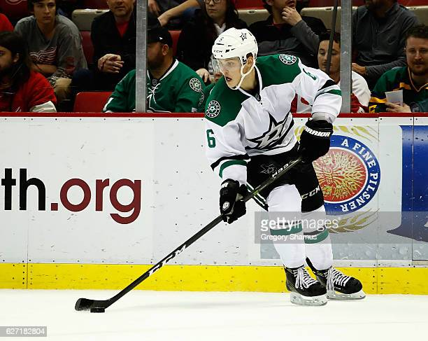 Julius Honka of the Dallas Stars skates while playing the Detroit Red Wings at Joe Louis Arena on November 29 2016 in Detroit Michigan Detroit won...