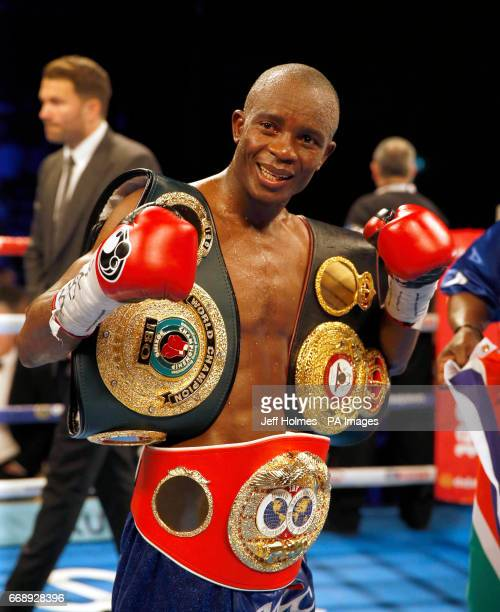 Julius Indongo celebrates victory after the WBA IBF and IBO Superlightweight World Championship bout at the SSE Hydro Glasgow