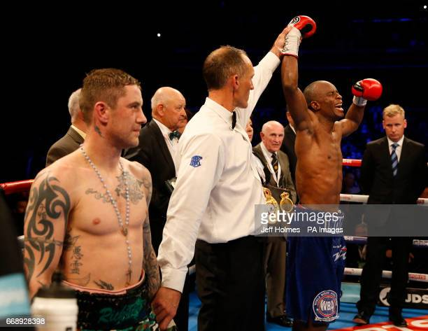 Julius Indongo celebrates victory over Ricky Burns after the WBA IBF and IBO Superlightweight World Championship bout at the SSE Hydro Glasgow