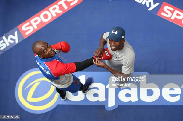 Julius Indongo takes part in a public work out at The St Enoch's Centre ahead of his SuperLightweight WBA IBF fight against Ricky Burns on April 11...
